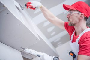Setting plasterboard ceiling. Gyprock work