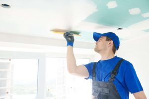 Gyprocker fixing crack in plasterboard commercial ceiling